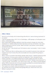 Alleged BP petrol pricing scam from Facebook