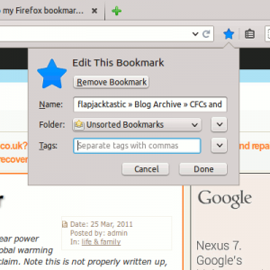 Star to set a bookmark in Firefox