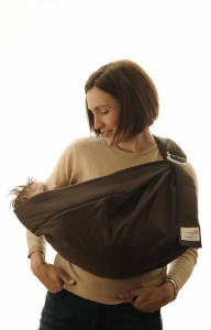 a small infant in a sling; that's not me!