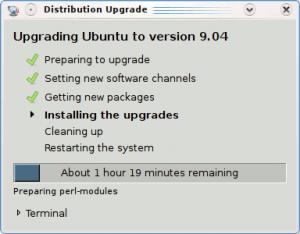 installing Ubuntu Jaunty takes a while