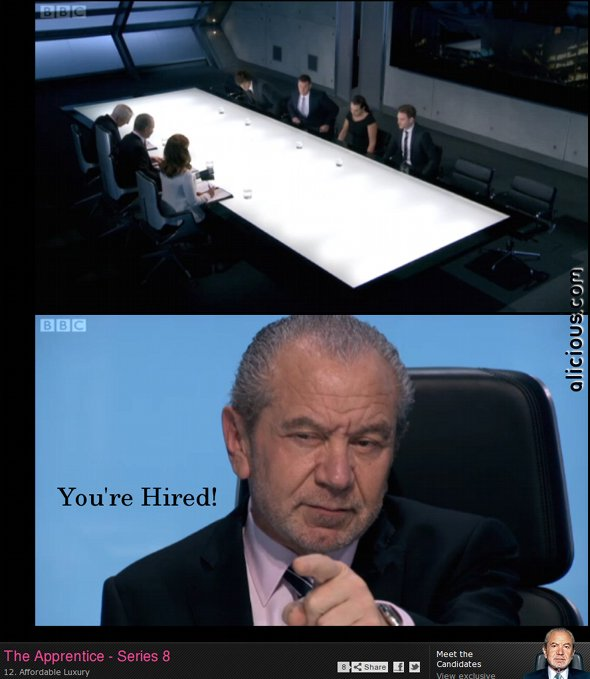 Lord Sugar points to the Apprentice winner in a preview sequence