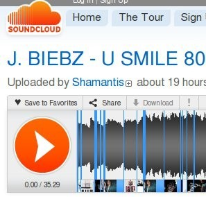 stretched Bieber song on SoundCloud
