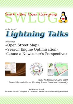 thumbnail: SWLUG lightning talks poster for 2 April 2008