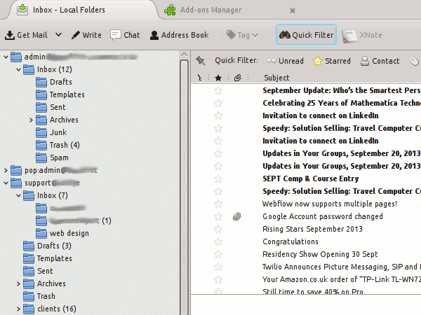 Thunderbird 24 - extensions appear to be causing lack of bold styling on folders with new mail